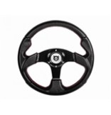 """Pro Armor Force Steering Wheel - 13"""" Circle (Black w/red stitching) W/hub For  All RZRs"""