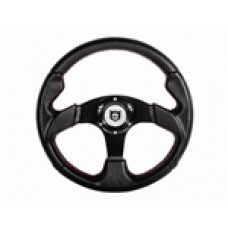 "Pro Armor Force Steering Wheel - 13"" Circle (Black w/red stitching) W/hub For  All RZRs"