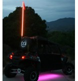 6F Multicolor LED Lighted Whip with Quick Disconnect and Roll Cage Billet Clamp
